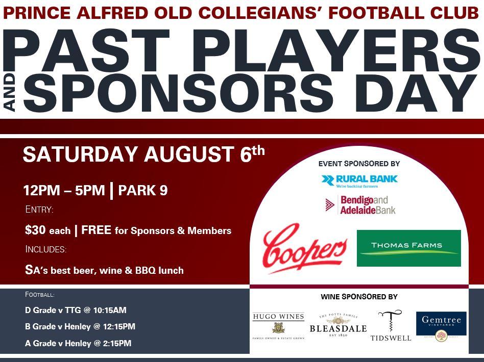 Past Players & Sponsors Advertisement w sponsors